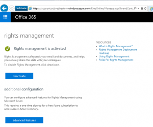 Azure Office 365 Information Rights Management