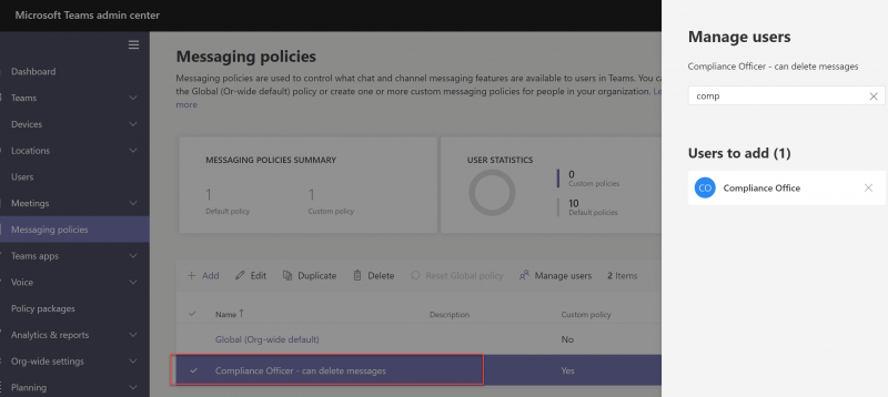 messaging policies_manage users